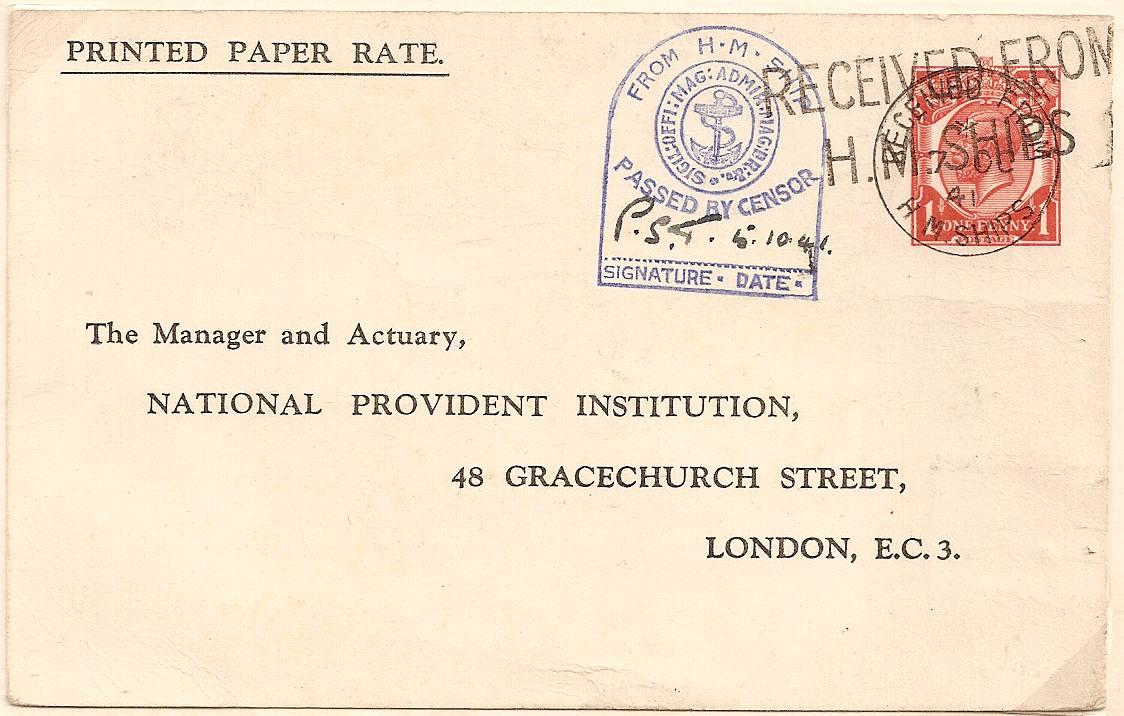 1941 Late usage King George V 1d STO postal stationery postcard by